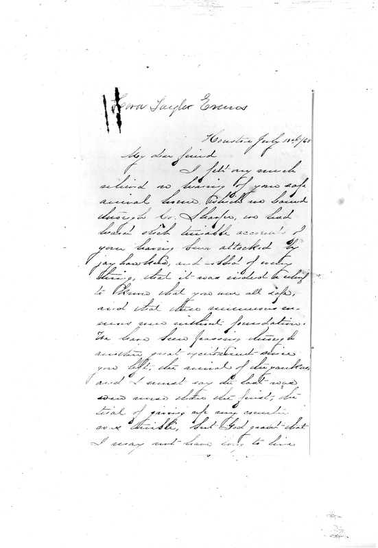 Cara Taylor Evans to Sarah Avery, July 18, 1865, Avery Family Papers, Records of the Antebellum Southern Plantations, Series J, Part 5, Reel 11, Frames 673 to 676.pdf