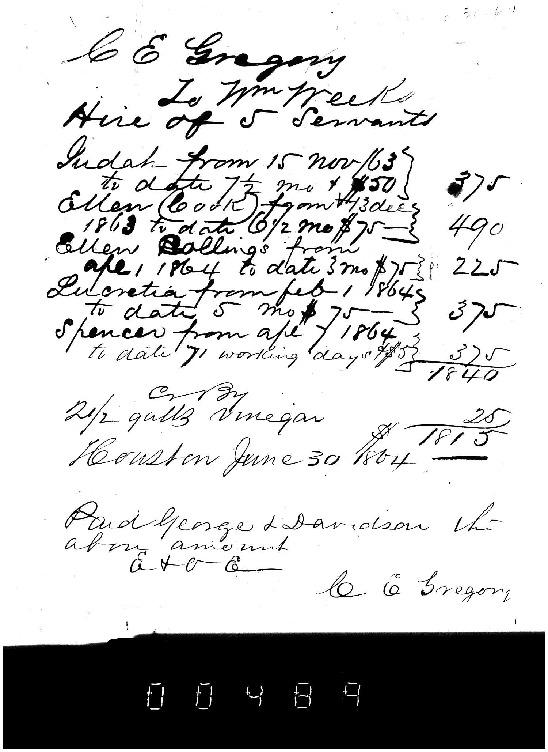 Receipt for Hire of Slaves of WF Weeks, June 30, 1864, Weeks Family Papers, Reel 18, Frame 489.pdf